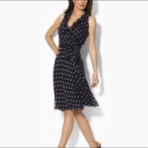 Ralph Lauren ruffle polka dot silk dress